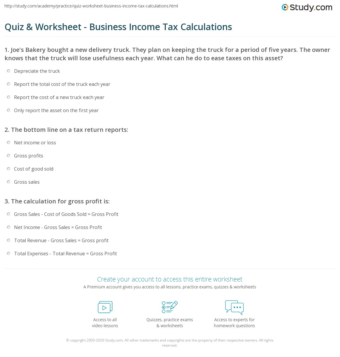 worksheet Business Income Calculation Worksheet quiz worksheet business income tax calculations study com print worksheet