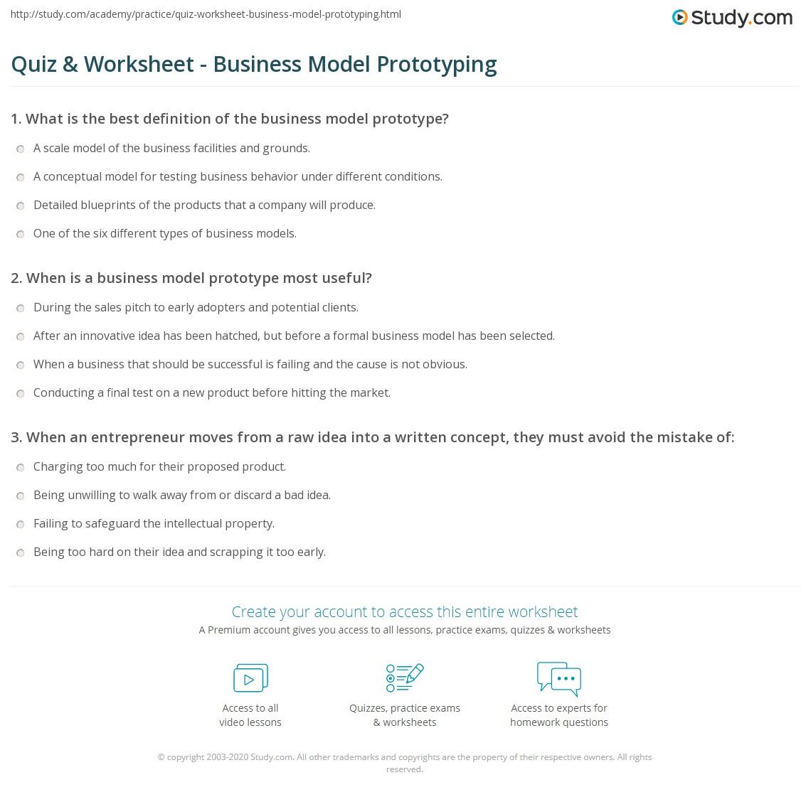 Quiz & Worksheet - Business Model Prototyping | Study.com