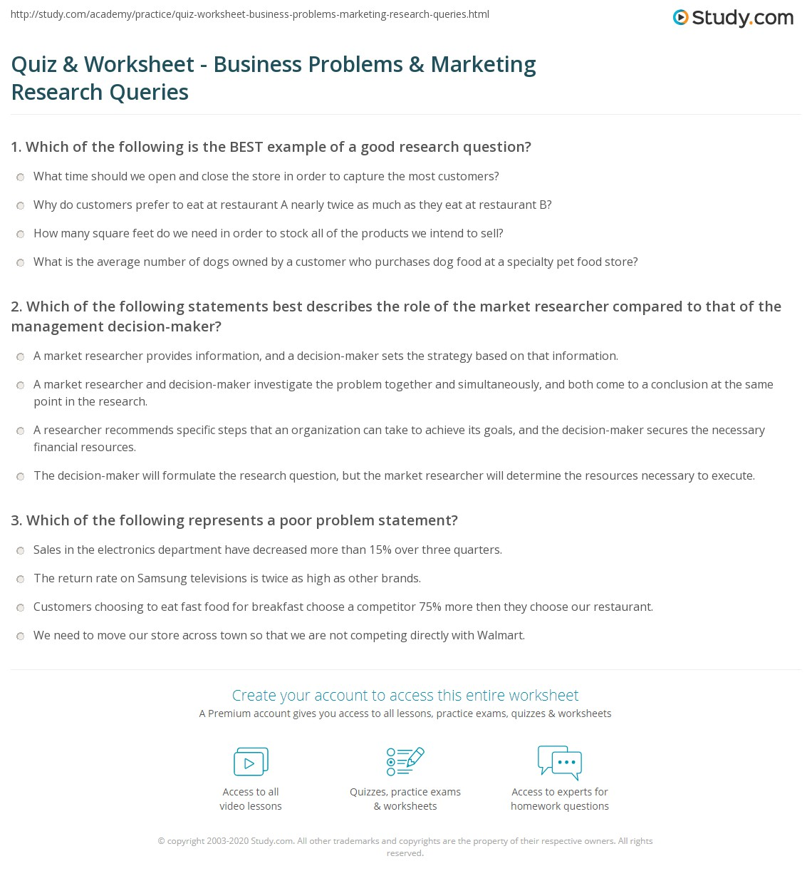 Quiz Worksheet Business Problems Marketing Research Queries