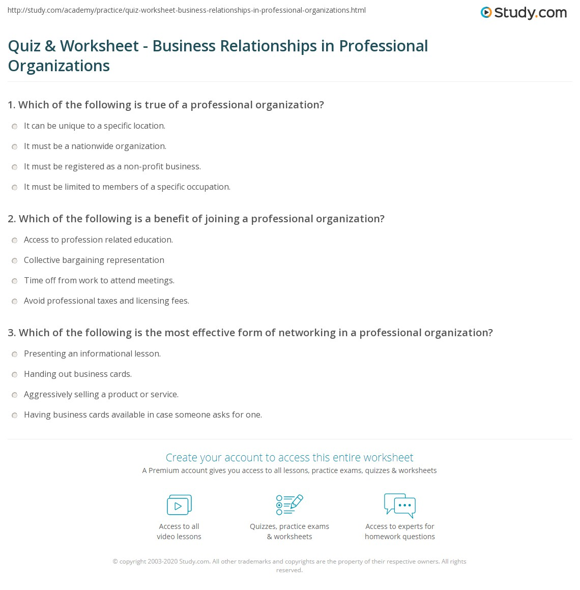 quiz worksheet business relationships in professional print how professional organizations foster business relationships worksheet