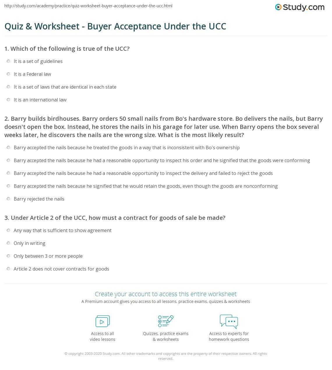 Quiz Worksheet Buyer Acceptance Under The Ucc Study