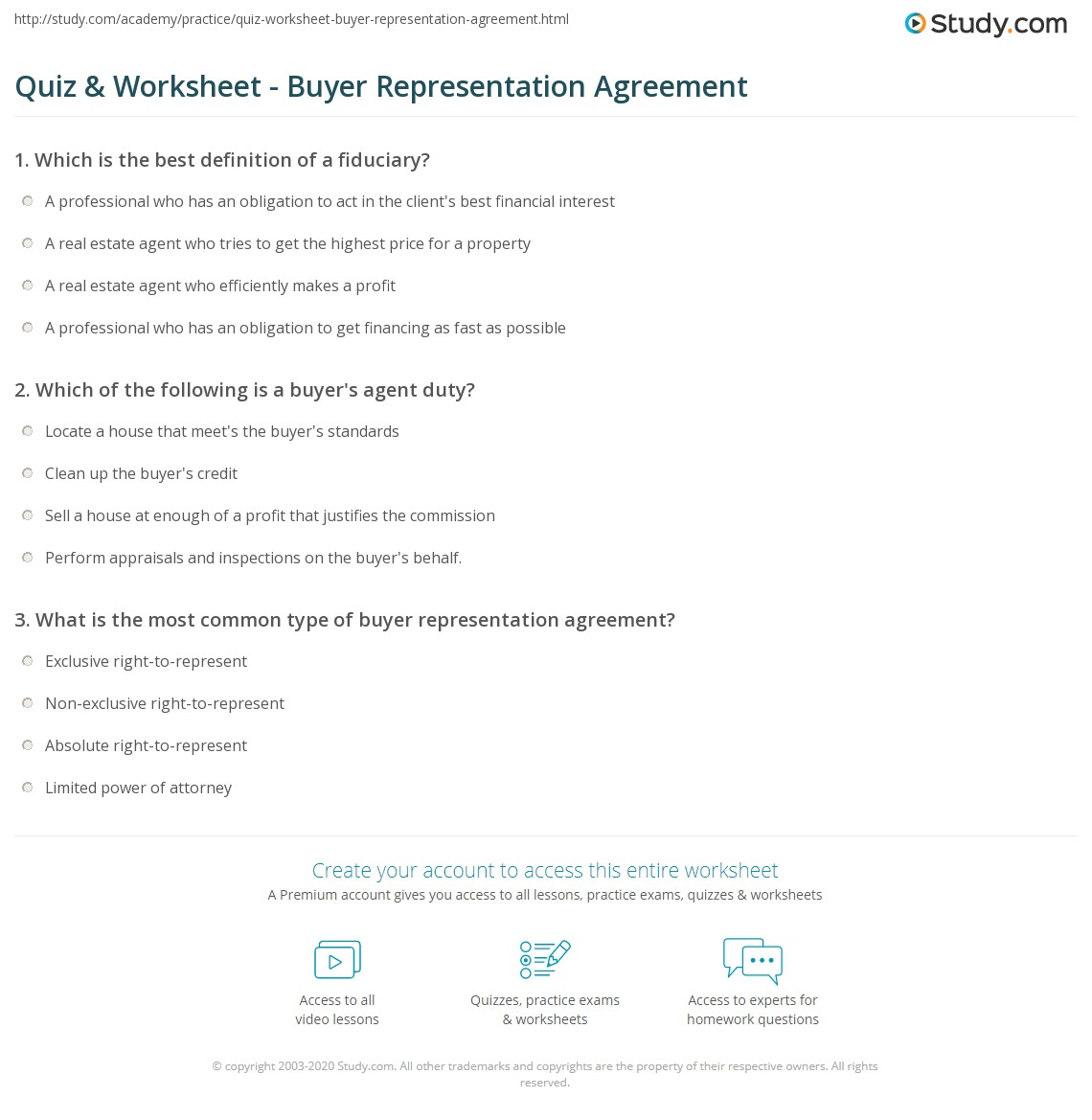 Quiz Worksheet Buyer Representation Agreement Study