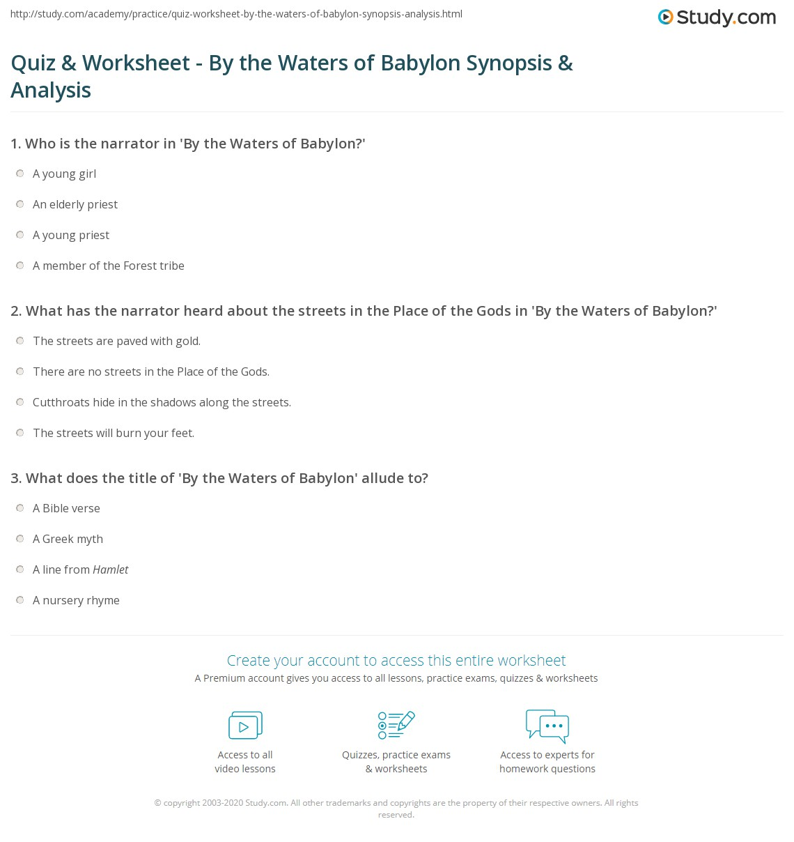 quiz worksheet by the waters of babylon synopsis analysis  print by the waters of babylon by stephen vincent benet summary theme analysis worksheet