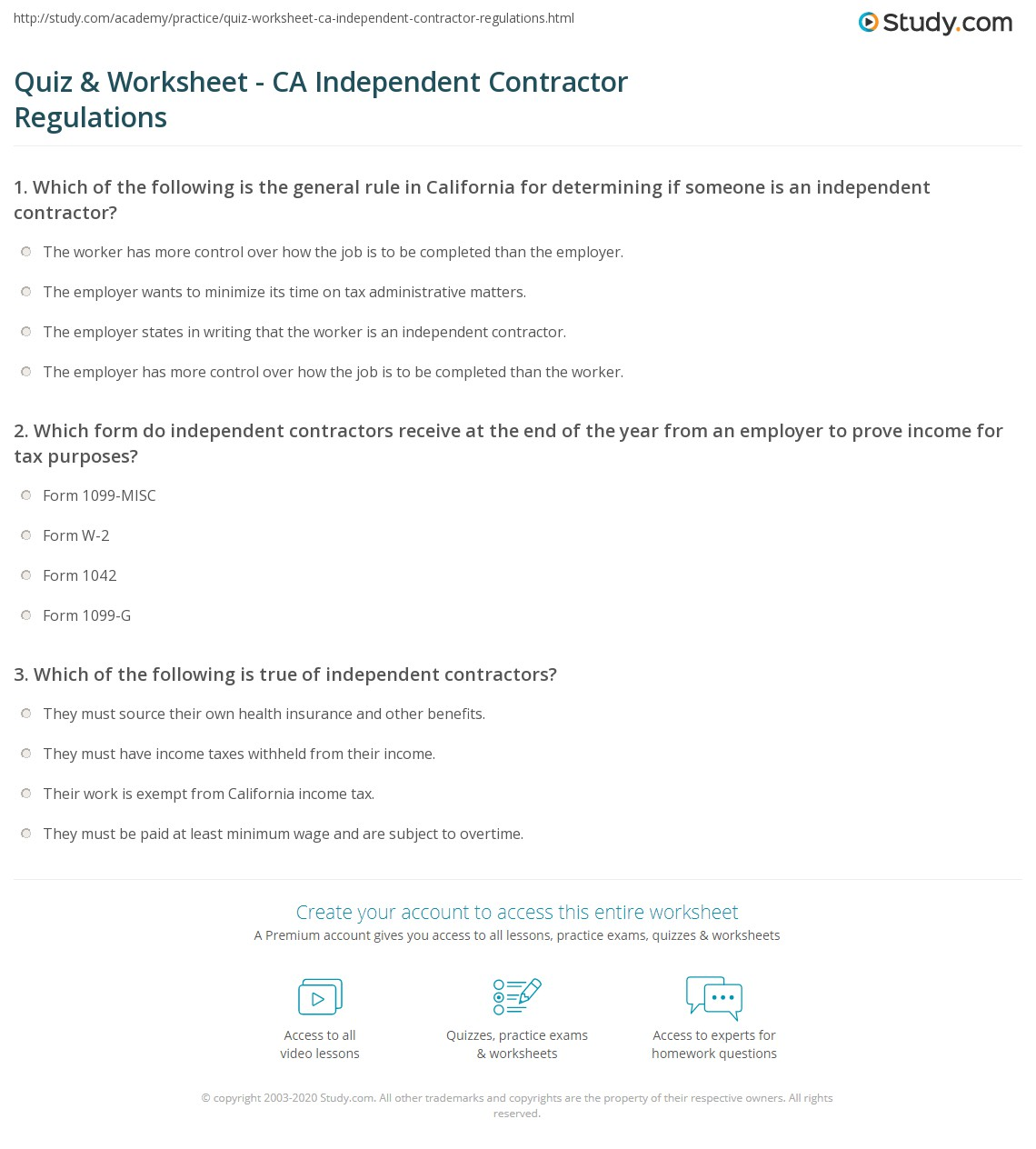 Quiz & Worksheet - CA Independent Contractor Regulations | Study.com