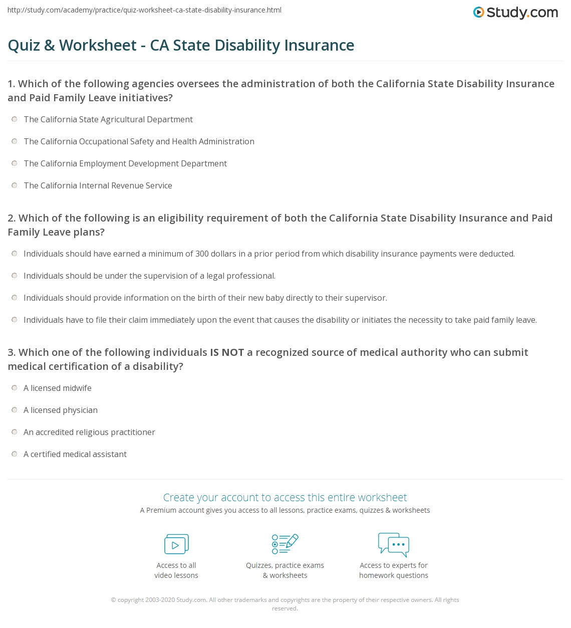 quiz worksheet ca state disability insurance. Black Bedroom Furniture Sets. Home Design Ideas