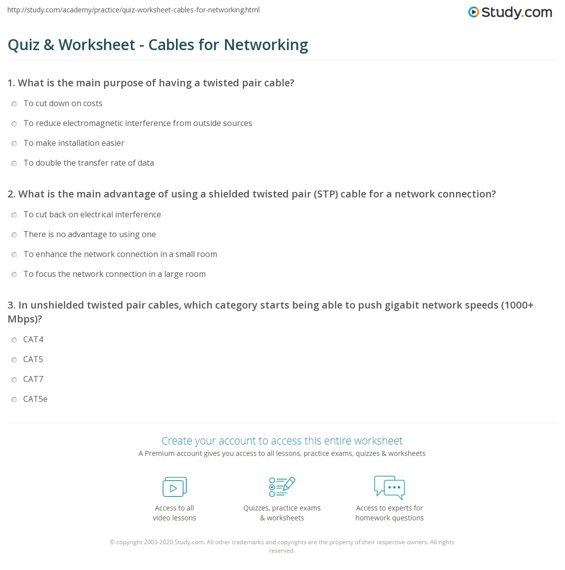 Quiz Worksheet Cables For Networking Twisted Pair Wiring What Is The Main Advantage Of Using A Shielded Stp Cable Network Connection
