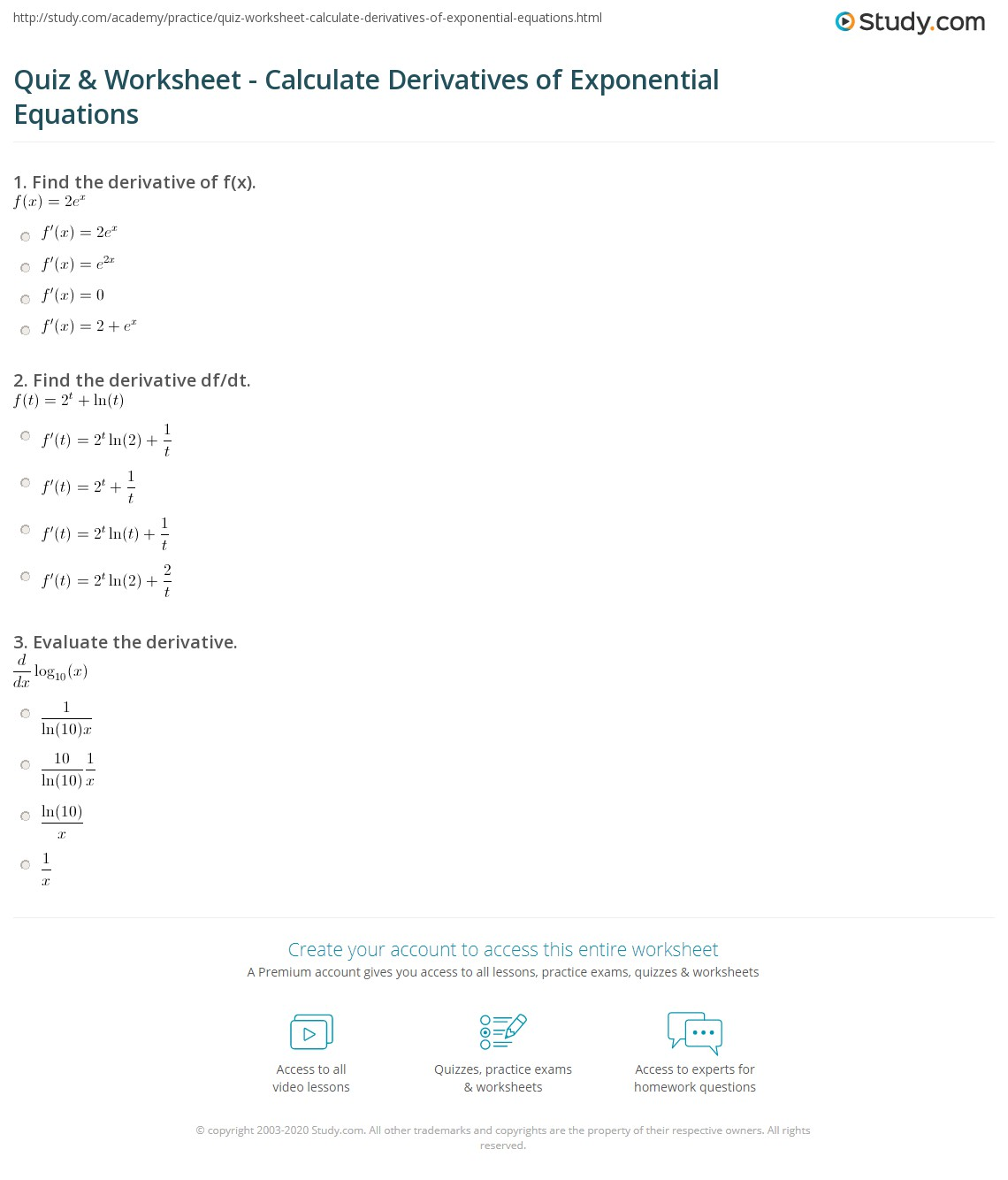 quiz worksheet calculate derivatives of exponential equations. Black Bedroom Furniture Sets. Home Design Ideas