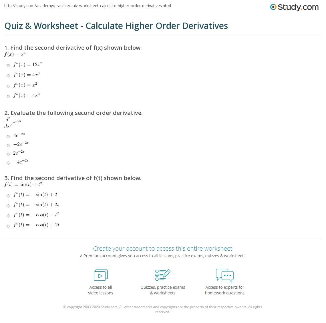 quiz worksheet calculate higher order derivatives. Black Bedroom Furniture Sets. Home Design Ideas