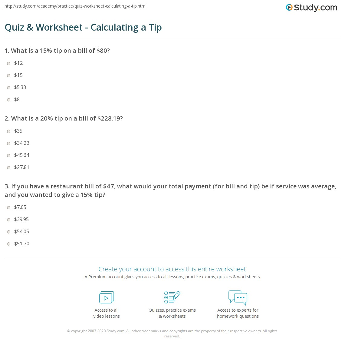 quiz worksheet calculating a tip. Black Bedroom Furniture Sets. Home Design Ideas