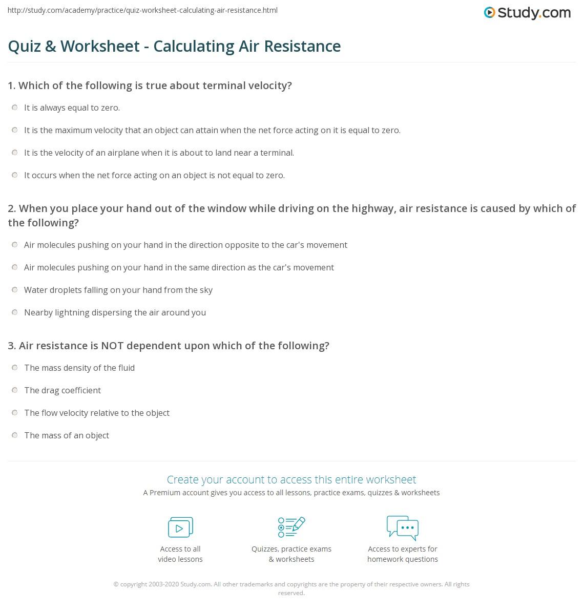 Quiz & Worksheet - Calculating Air Resistance   Study.com