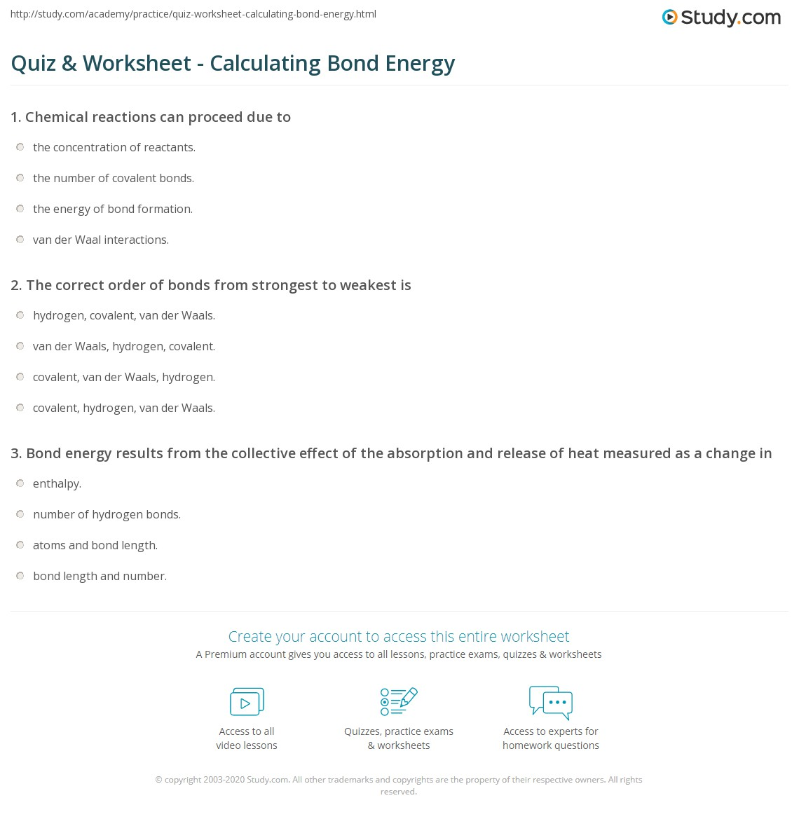 Quiz & Worksheet - Calculating Bond Energy | Study.com