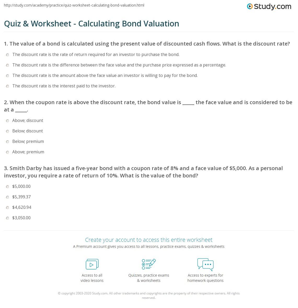 print bond valuation formula steps examples worksheet