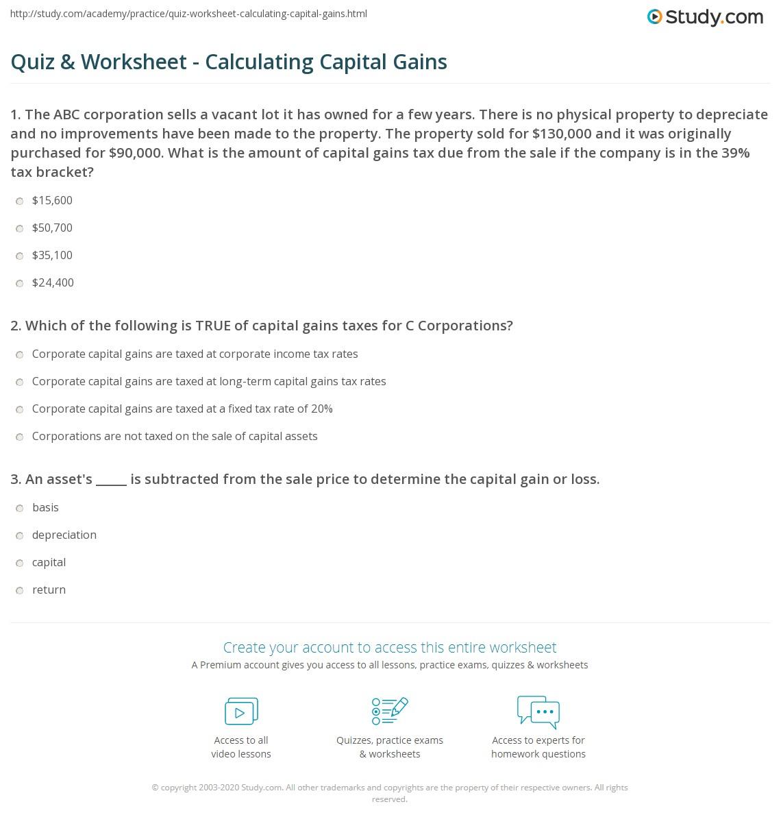 Quiz & Worksheet - Calculating Capital Gains | Study.com