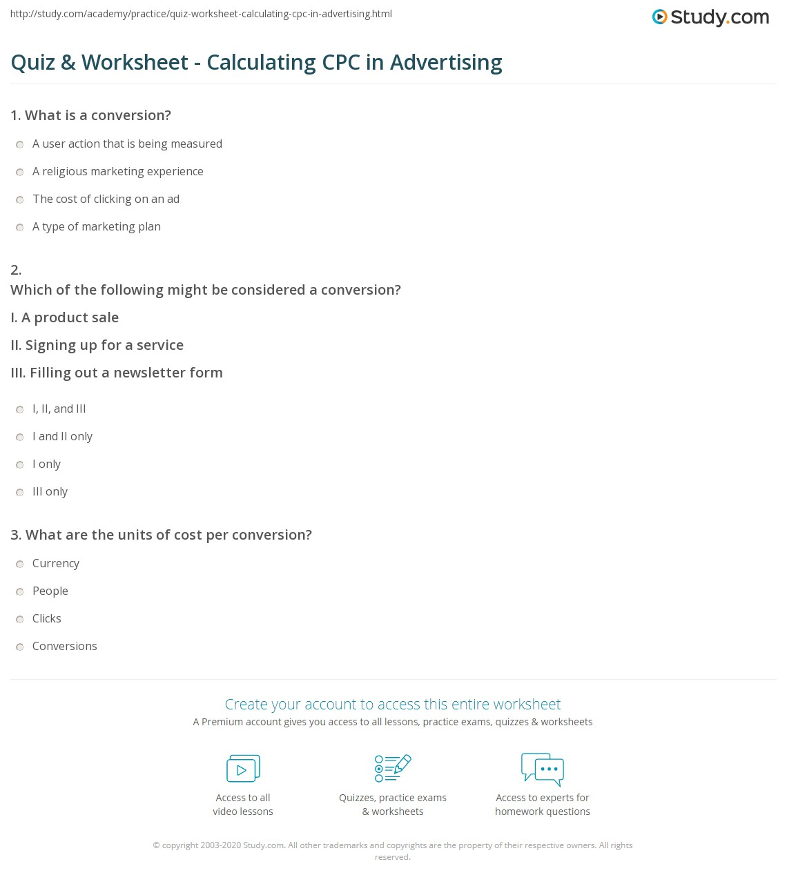 Quiz & Worksheet - Calculating CPC in Advertising | Study com