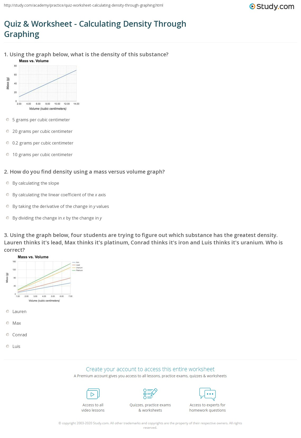 Quiz Worksheet Calculating Density Through Graphing – Volume and Density Worksheet