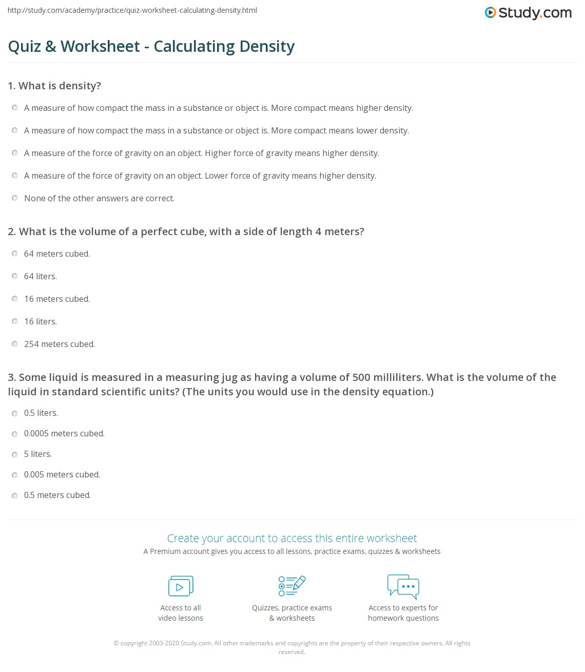 Quiz & Worksheet - Calculating Density | Study.com