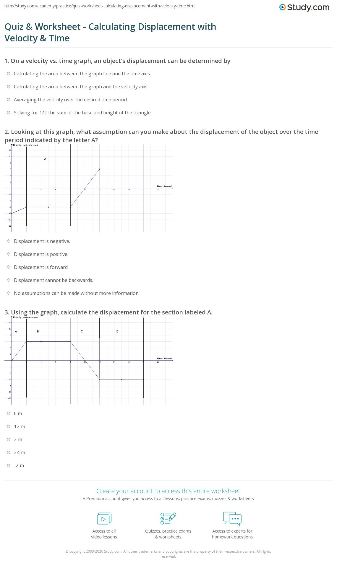 quiz worksheet calculating displacement with velocity time. Black Bedroom Furniture Sets. Home Design Ideas