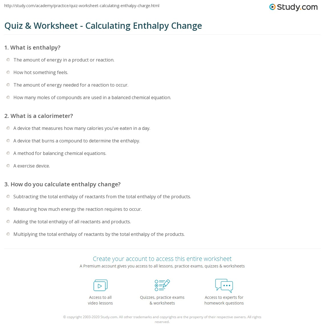 Quiz Worksheet Calculating Enthalpy Change Study