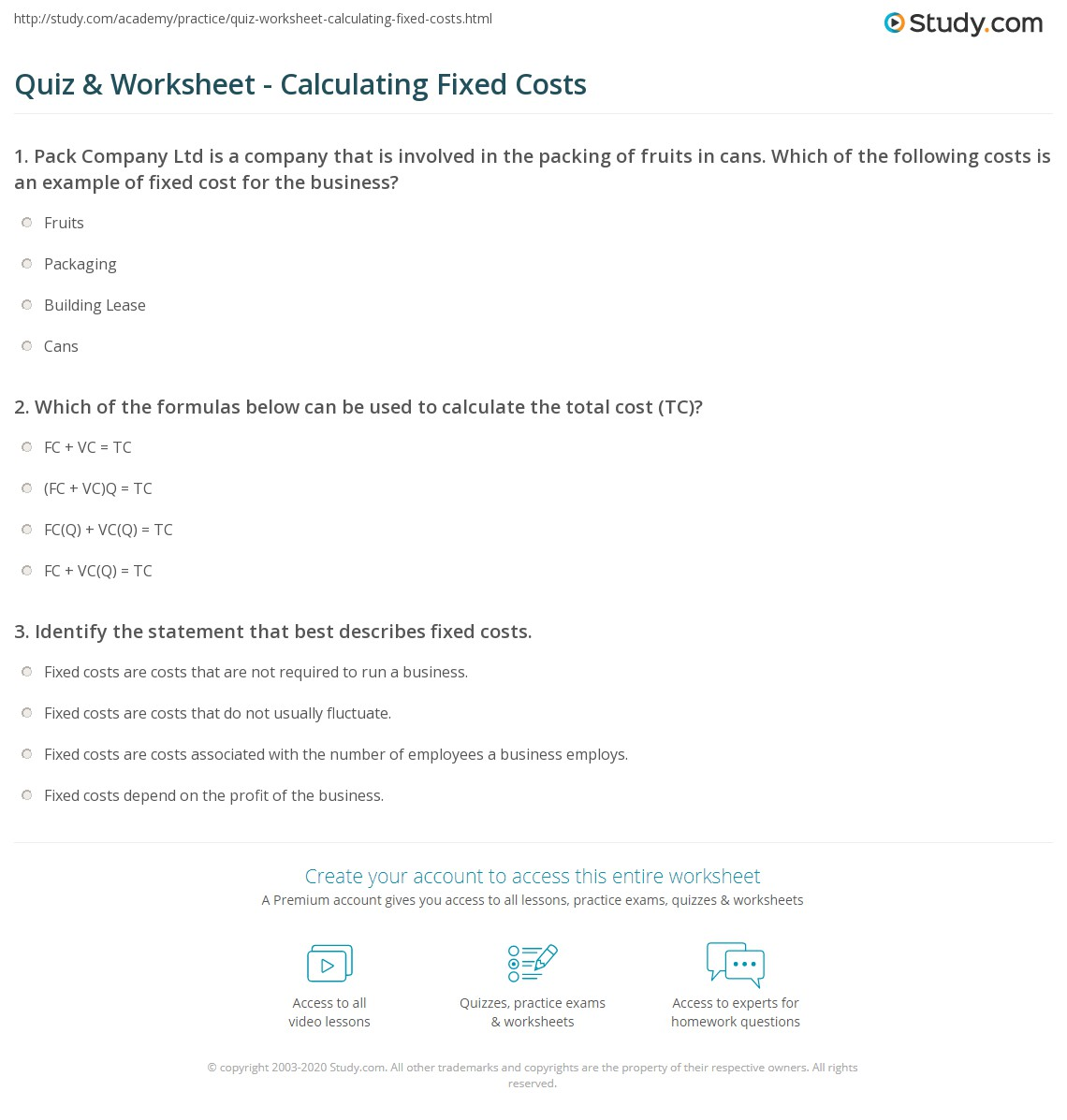 Quiz Worksheet Calculating Fixed Costs Study