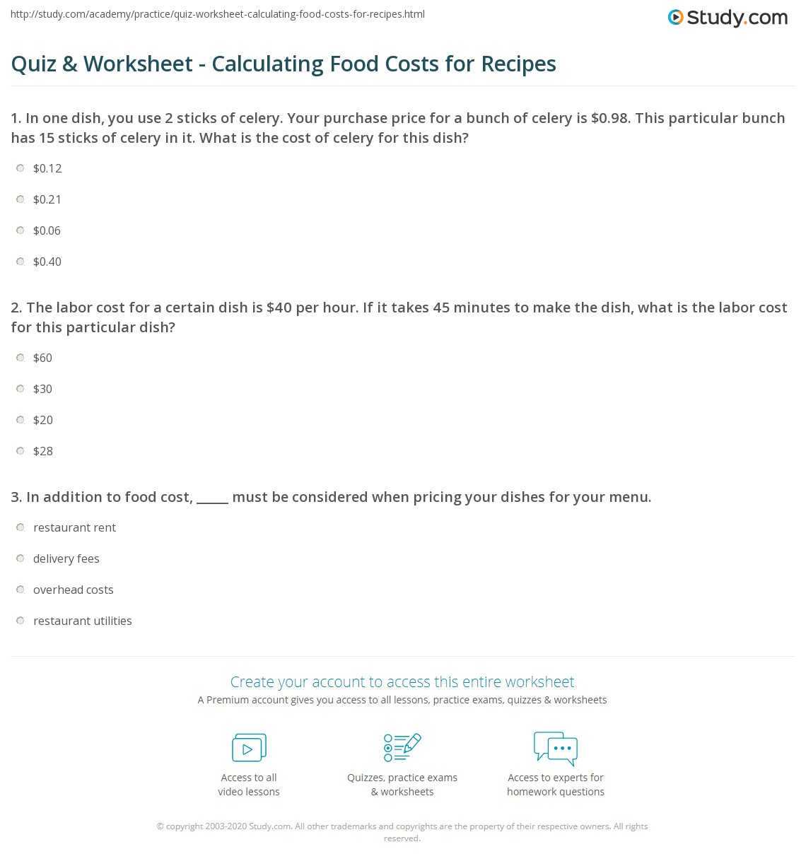 quiz worksheet calculating food costs for recipes. Black Bedroom Furniture Sets. Home Design Ideas