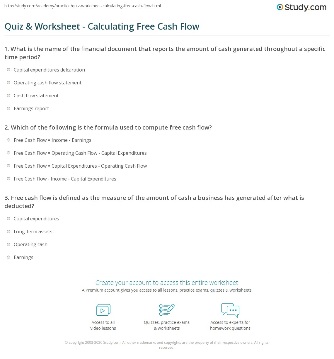 print how to calculate free cash flow formula analysis example worksheet