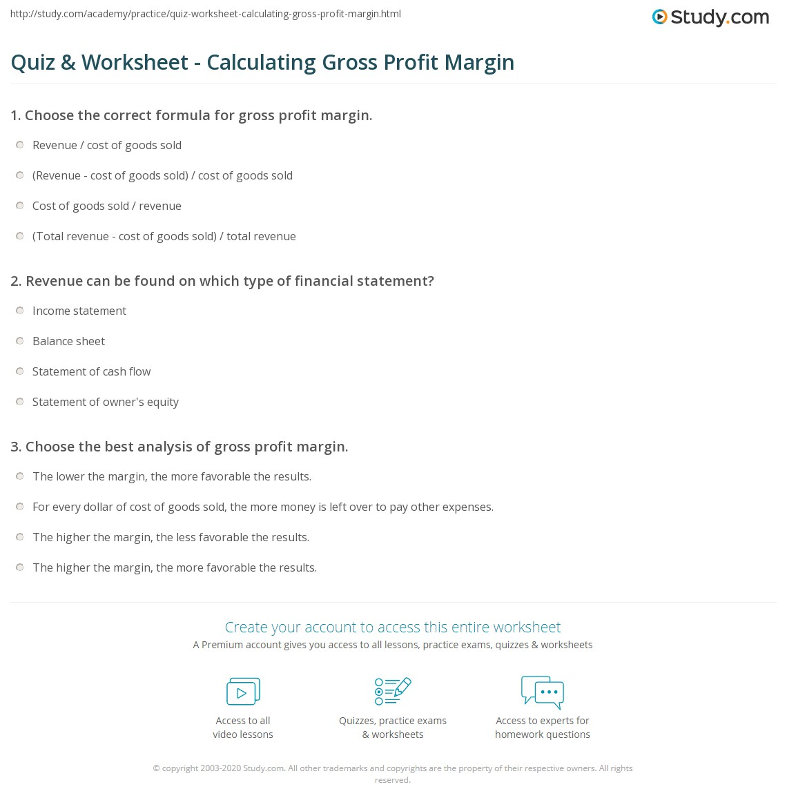 quiz worksheet calculating gross profit margin. Black Bedroom Furniture Sets. Home Design Ideas
