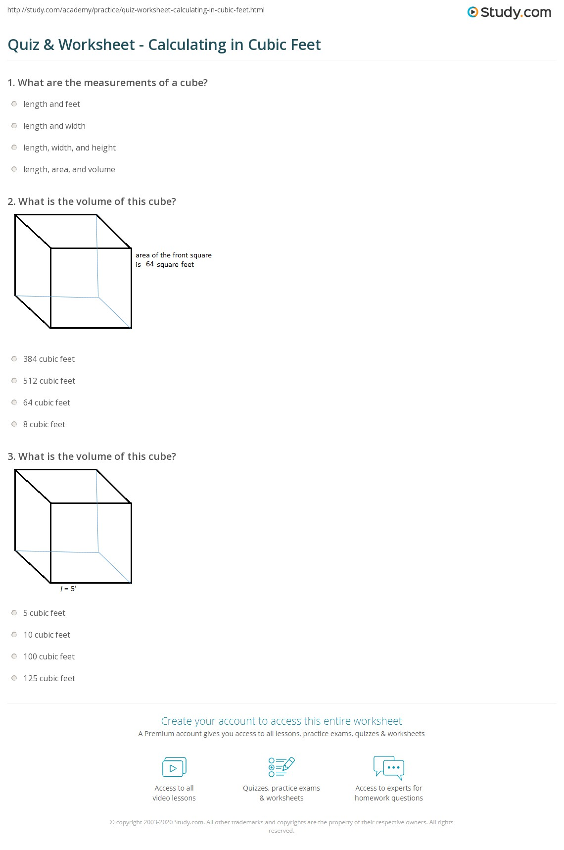 Print What Is A Cubic Foot Definition Formula Worksheet