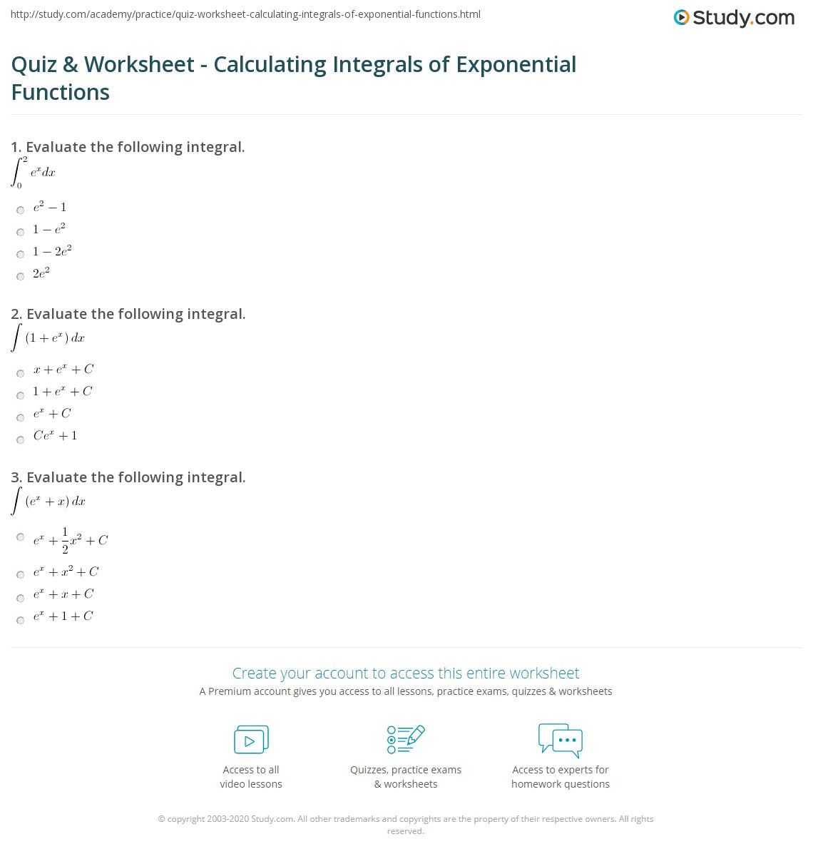 Quiz & Worksheet - Calculating Integrals of Exponential Functions ...