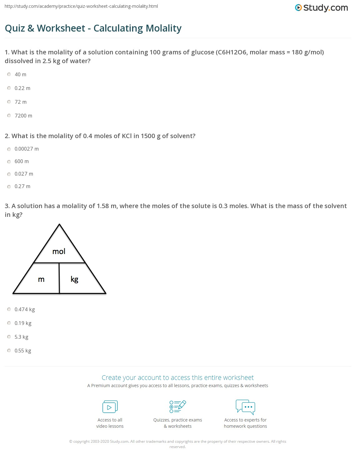 Calculating Molality Worksheet And Answers - calculating molality ...