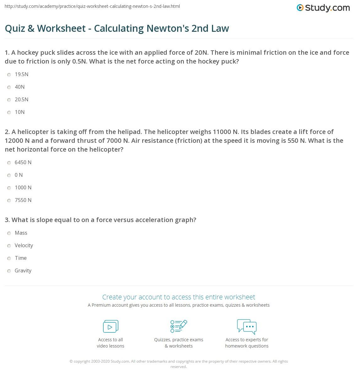 Quiz & Worksheet - Calculating Newton's 2nd Law | Study.com