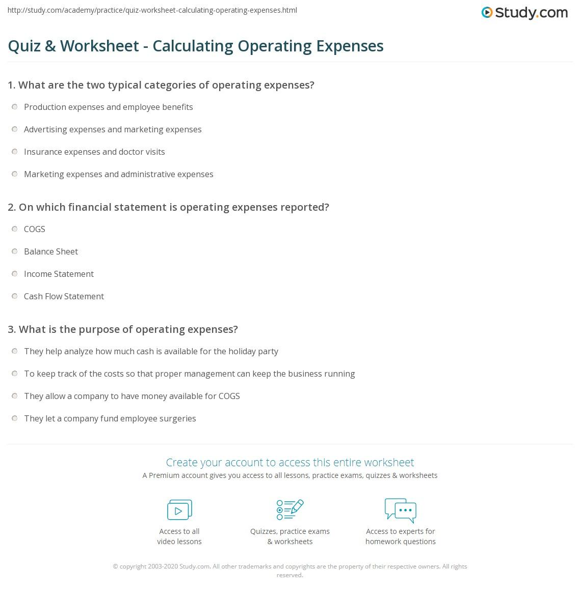 Lovely Print Operating Expenses: Definition, Formula U0026 Examples Worksheet