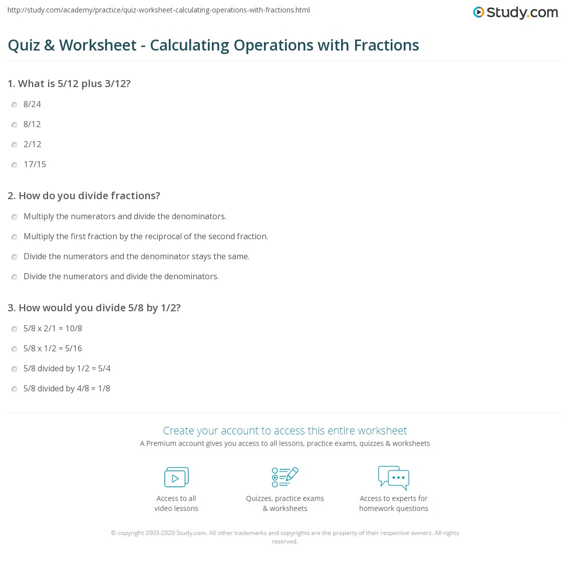 quiz  worksheet  calculating operations with fractions  studycom print performing basic operations with fractions worksheet