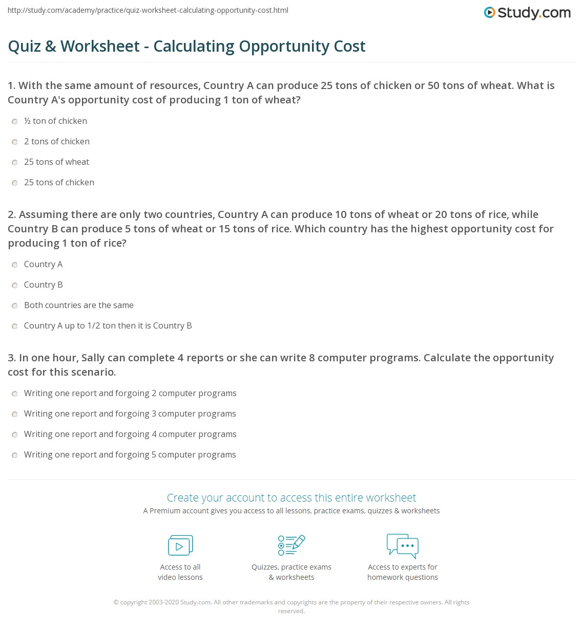 Quiz Worksheet Calculating Opportunity Cost Study