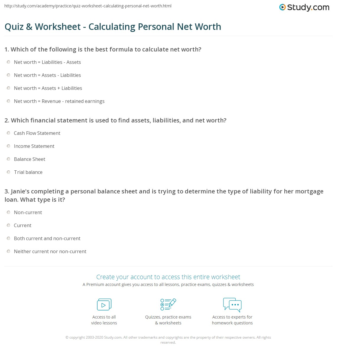 Worksheets How To Calculate Your Net Worth Worksheet quiz worksheet calculating personal net worth study com print assets liabilities worksheet