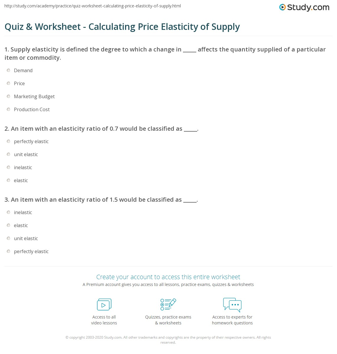 quiz worksheet calculating price elasticity of supply. Black Bedroom Furniture Sets. Home Design Ideas