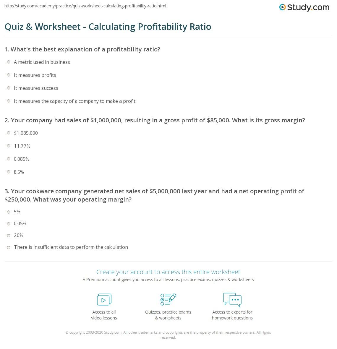 Quiz & Worksheet - Calculating Profitability Ratio | Study.com