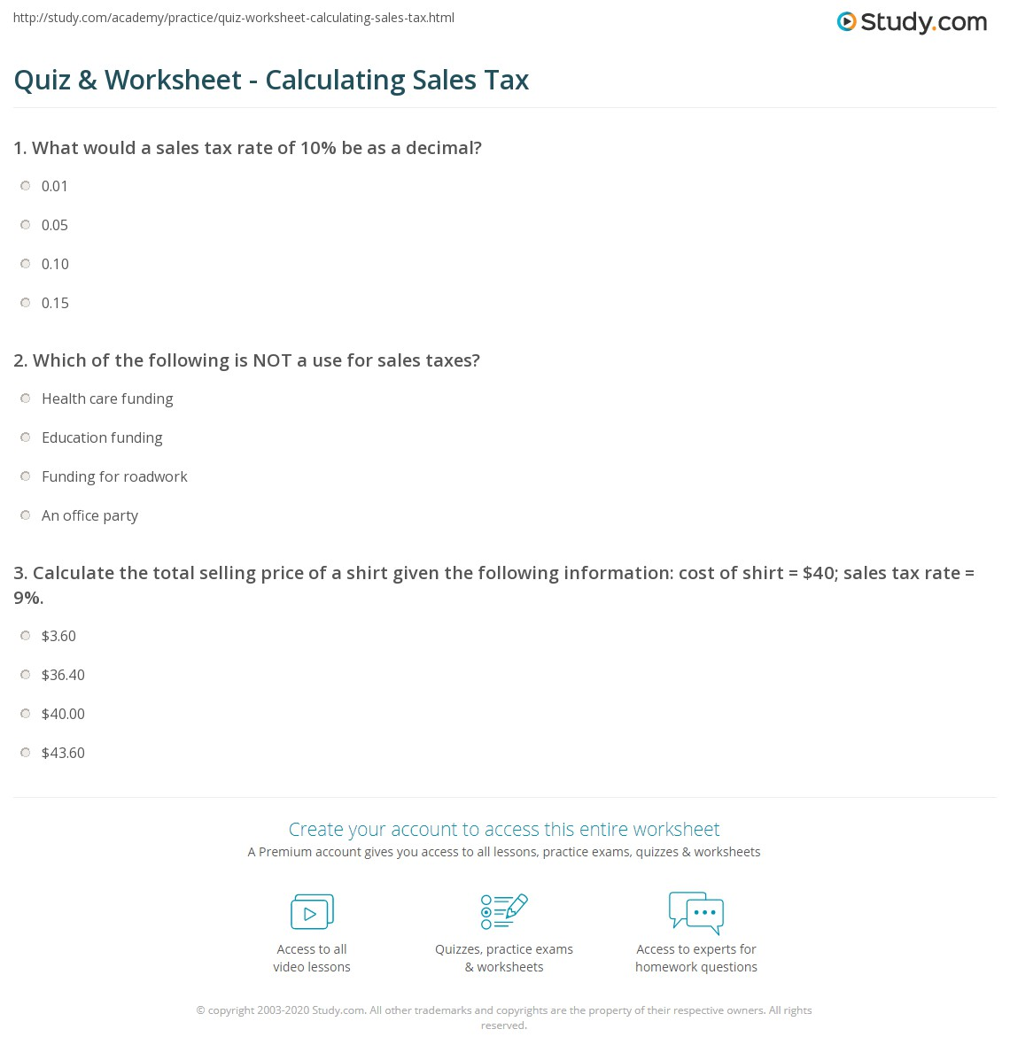 Quiz & Worksheet Calculating Sales Tax