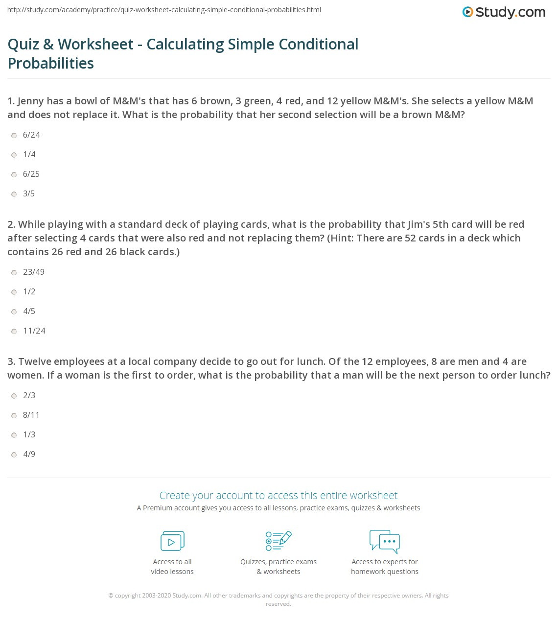 Quiz & Worksheet - Calculating Simple Conditional Probabilities ...