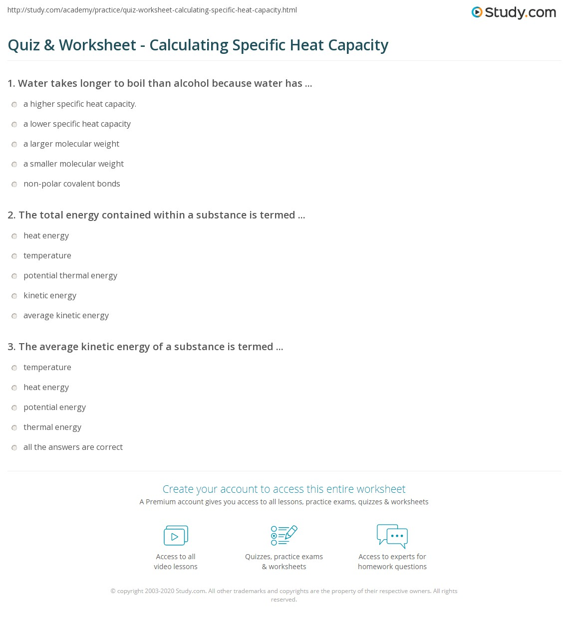 Quiz & Worksheet - Calculating Specific Heat Capacity | Study.com