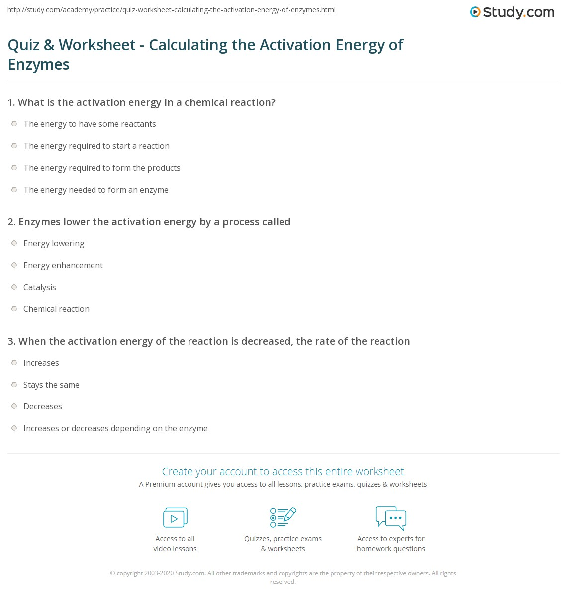 quiz worksheet calculating the activation energy of enzymes. Black Bedroom Furniture Sets. Home Design Ideas