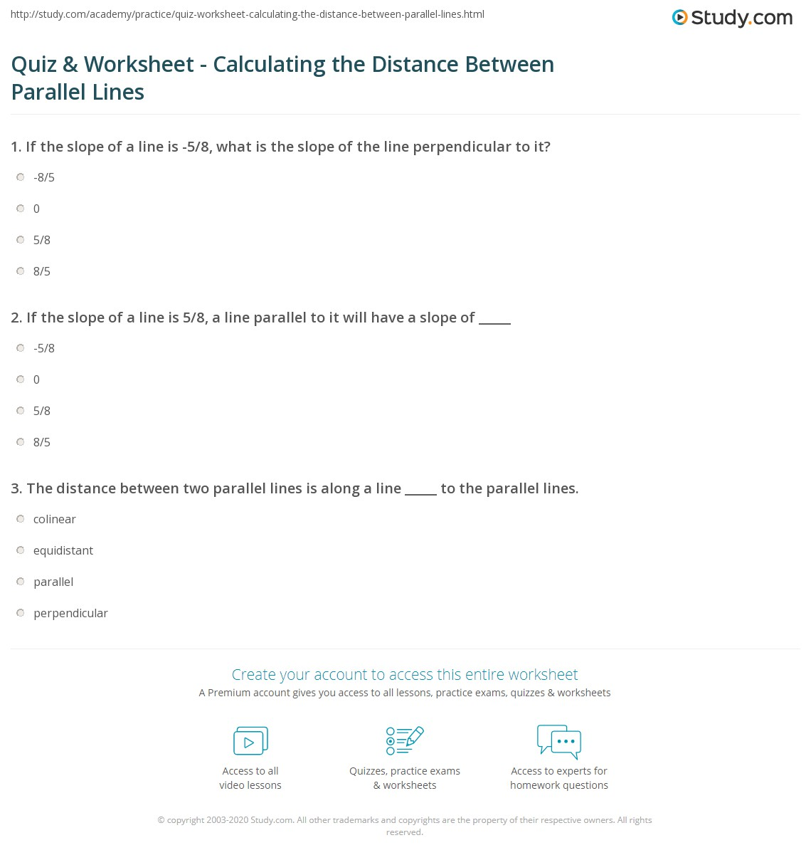 Quiz Worksheet Calculating the Distance Between Parallel Lines – Parallel Lines Worksheet