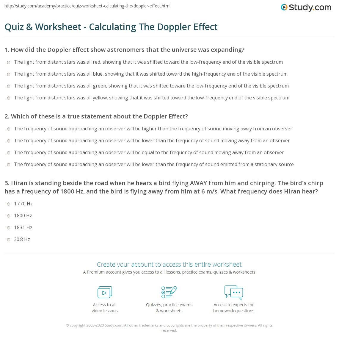 Quiz Worksheet Calculating The Doppler Effect Study