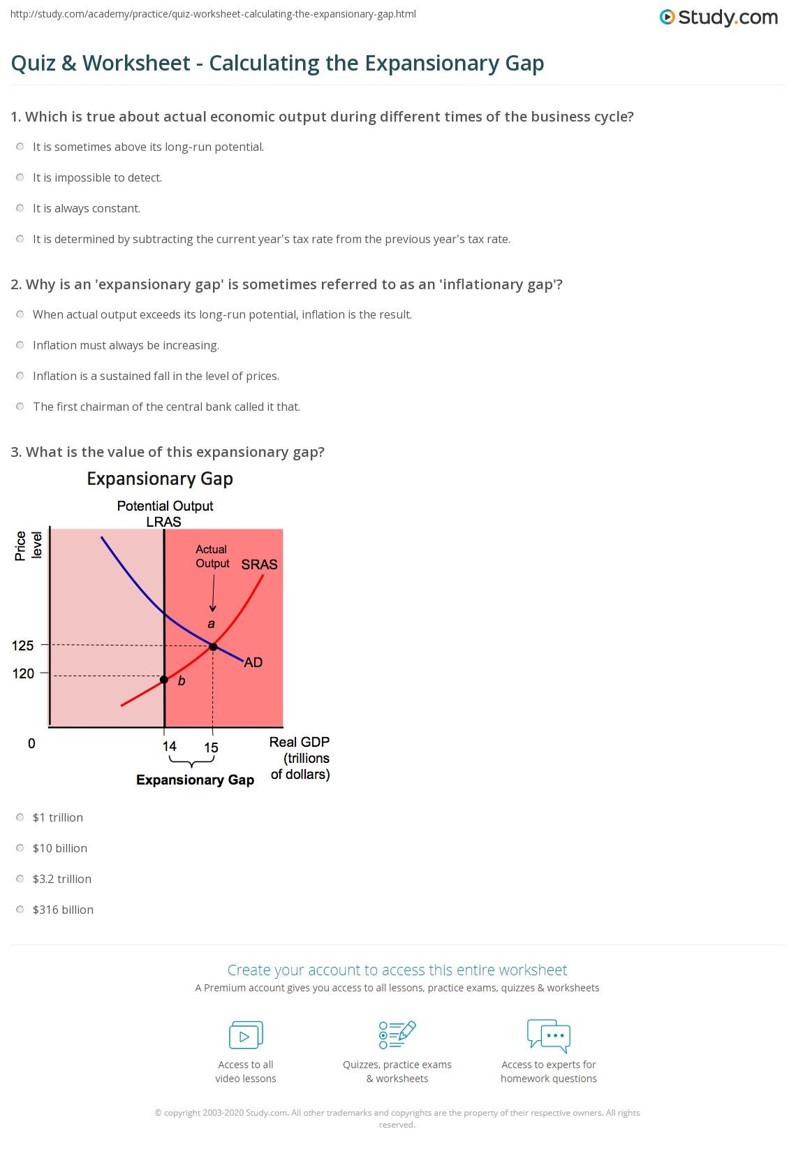 quiz worksheet calculating the expansionary gap. Black Bedroom Furniture Sets. Home Design Ideas