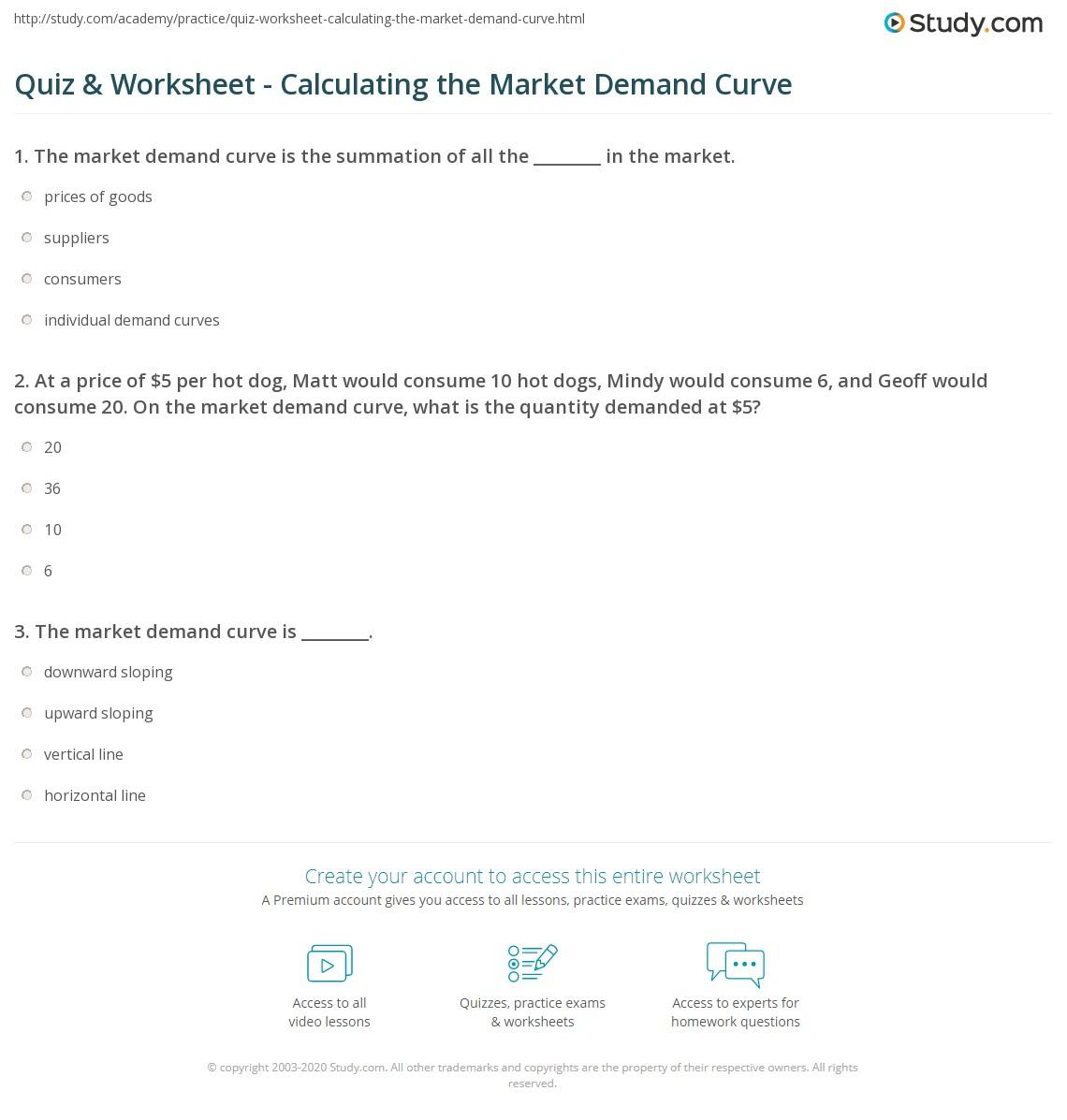 Quiz & Worksheet - Calculating the Market Demand Curve ...