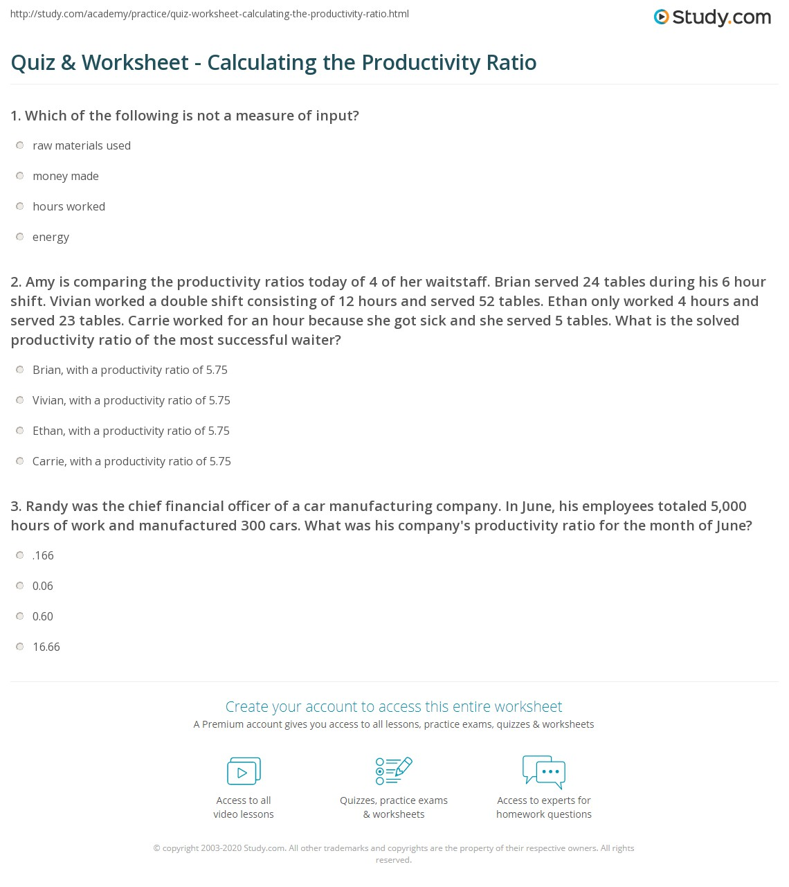 Quiz Worksheet Calculating the Productivity Ratio – Calculating Work Worksheet