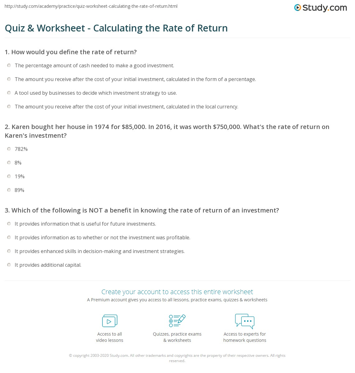 Quiz & Worksheet - Calculating the Rate of Return | Study.com