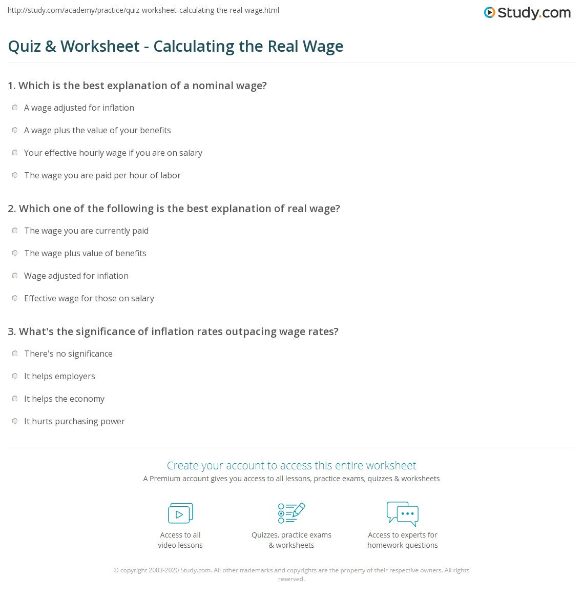 worksheet Calculating Salary Worksheet quiz worksheet calculating the real wage study com print definition formula worksheet