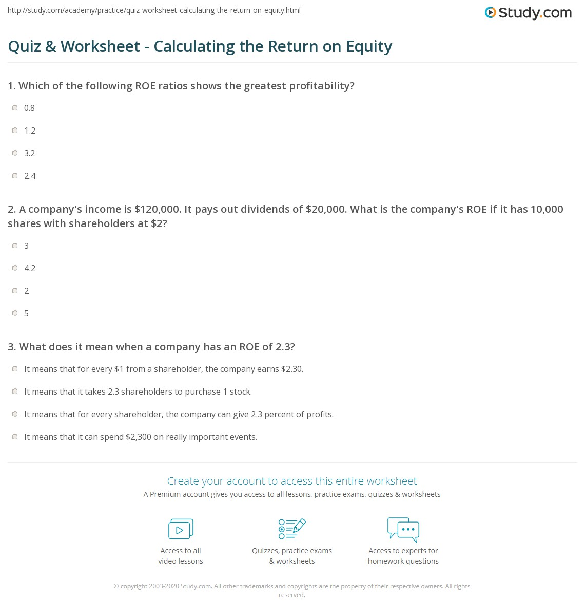 Quiz Worksheet Calculating The Return On Equity Study