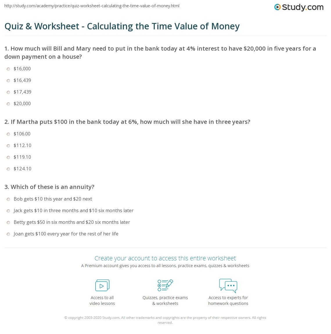 Quiz & Worksheet - Calculating the Time Value of Money | Study.com