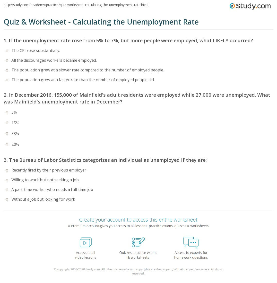 Quiz & Worksheet - Calculating the Unemployment Rate | Study.com